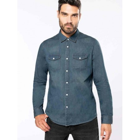 Pánska rifľová košeľa dlhý rukáv - 1