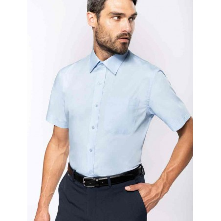 Pánska popelínová košeľa s krátkym rukávom - 1