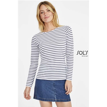 Dámske Tričko MARINE WOMEN LONG SLEEVE STRIPED
